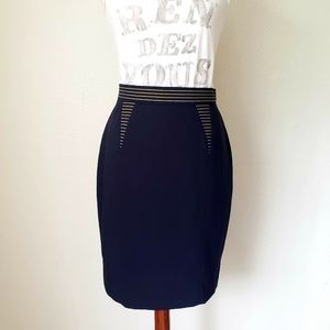 Escada blue and yellow 100% wool pencil skirt